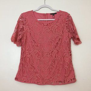 ADRIANNA PAPELL Women's Lace Top Size L Casual Lin